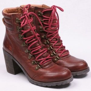 Lucky Brand Lace Up Combat Boots Women Heel 9